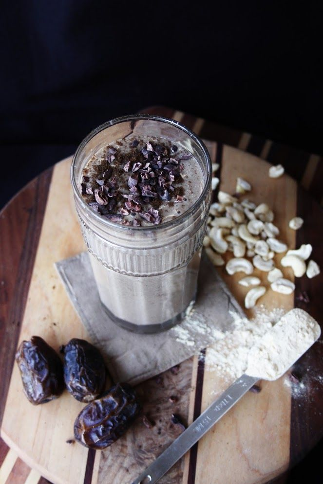 This Rawsome Vegan Life: HORMONE-BALANCING YERBA MATE BANANA SMOOTHIE with MACA, LUCUMA, VANILLA & CASHEWS  ✿2 frozen bananas  ✿1 1/2 cups chilled yerba mate tea (mine is a chai blend)   ✿1 teaspoon lucuma powder  ✿1 tablespoon maca powder  ✿1 teaspoon vanilla powder  ✿3 dates  ✿Pinch of Himalayan salt  ✿1/4 cup cashews, preferably soaked  ✿Cacao nibs (optional)