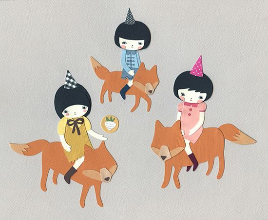 Adventures of the Kimchi Part I, Cut Paper + Ink - Andrea Kang.
