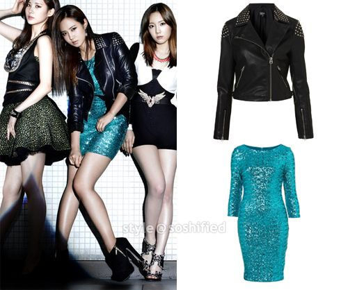 Topshop:   Studded Biker Jacket @ Topshop.com $130  Petite Sequin Bodycon Dress @ Topshop.com $136 #snsd #sooyoung #topshop