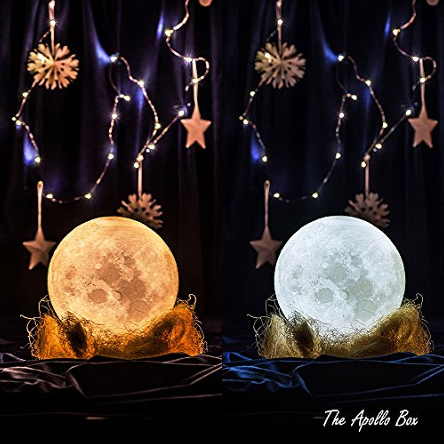 Apollo Box 4 7 Inch 3d Printing Moon Lamp Smart Touch Control Rechargeable Led Moon Night Light With Multi Colors For Be Apollo Box Night Light Best Desk Lamp