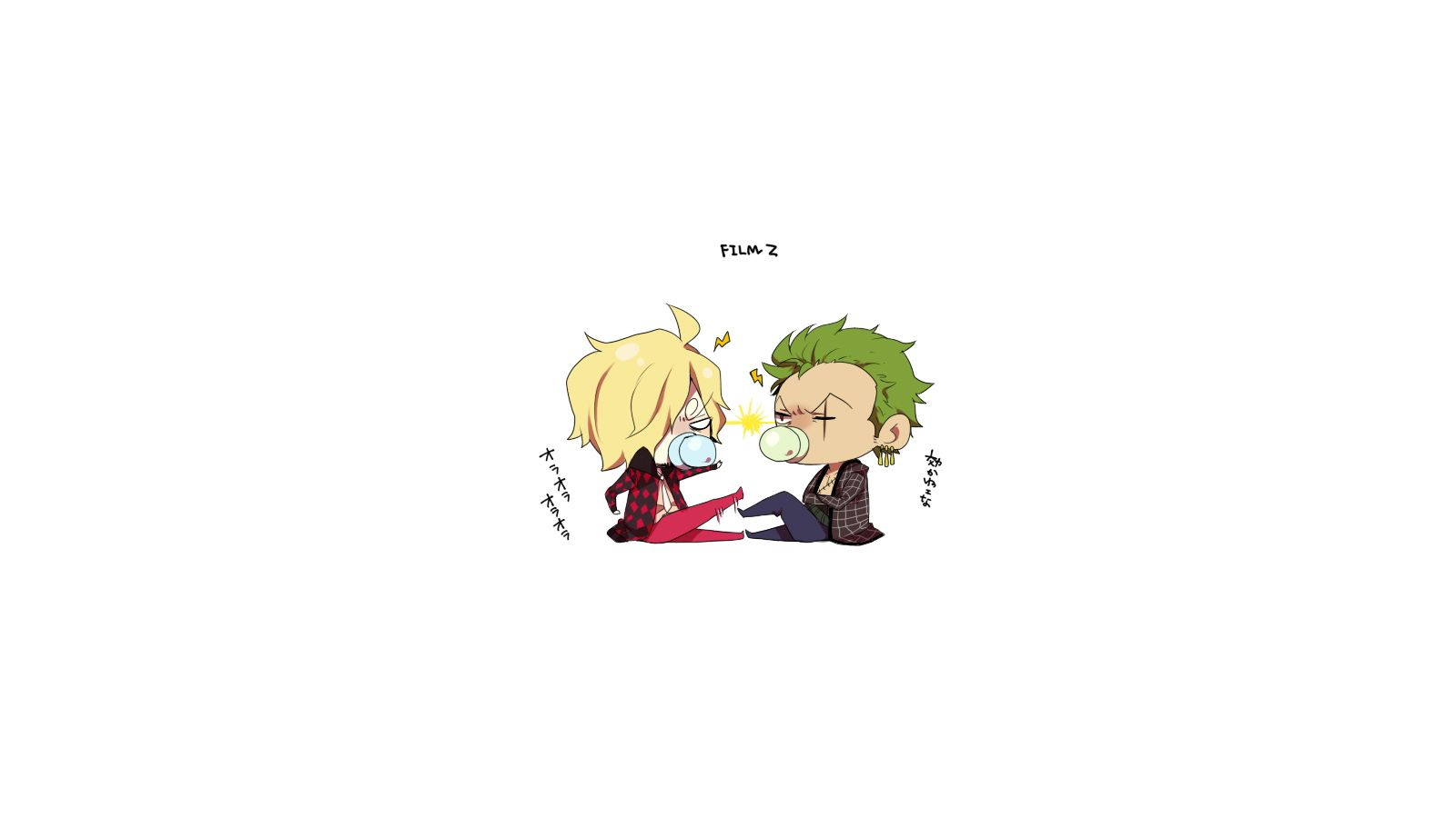 One Piece Chibi Sanji And Zoro After 2 Years Wallpaper