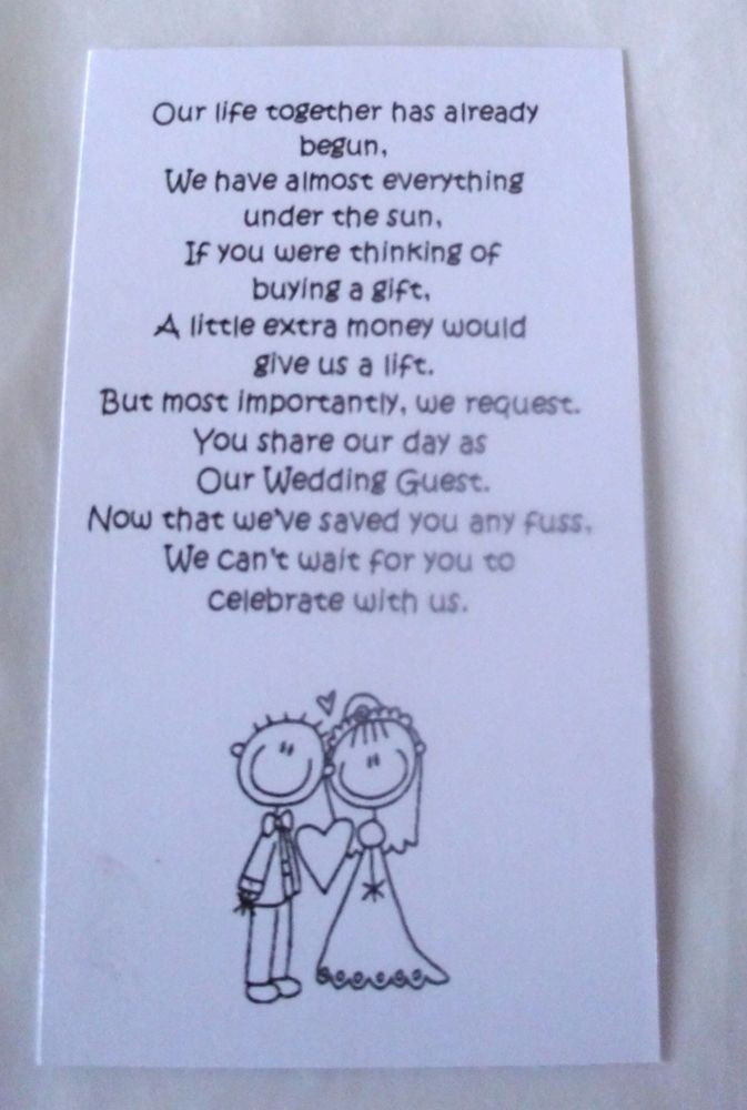 Details About 50 Small Wedding Gift Poem Cards Asking For Money