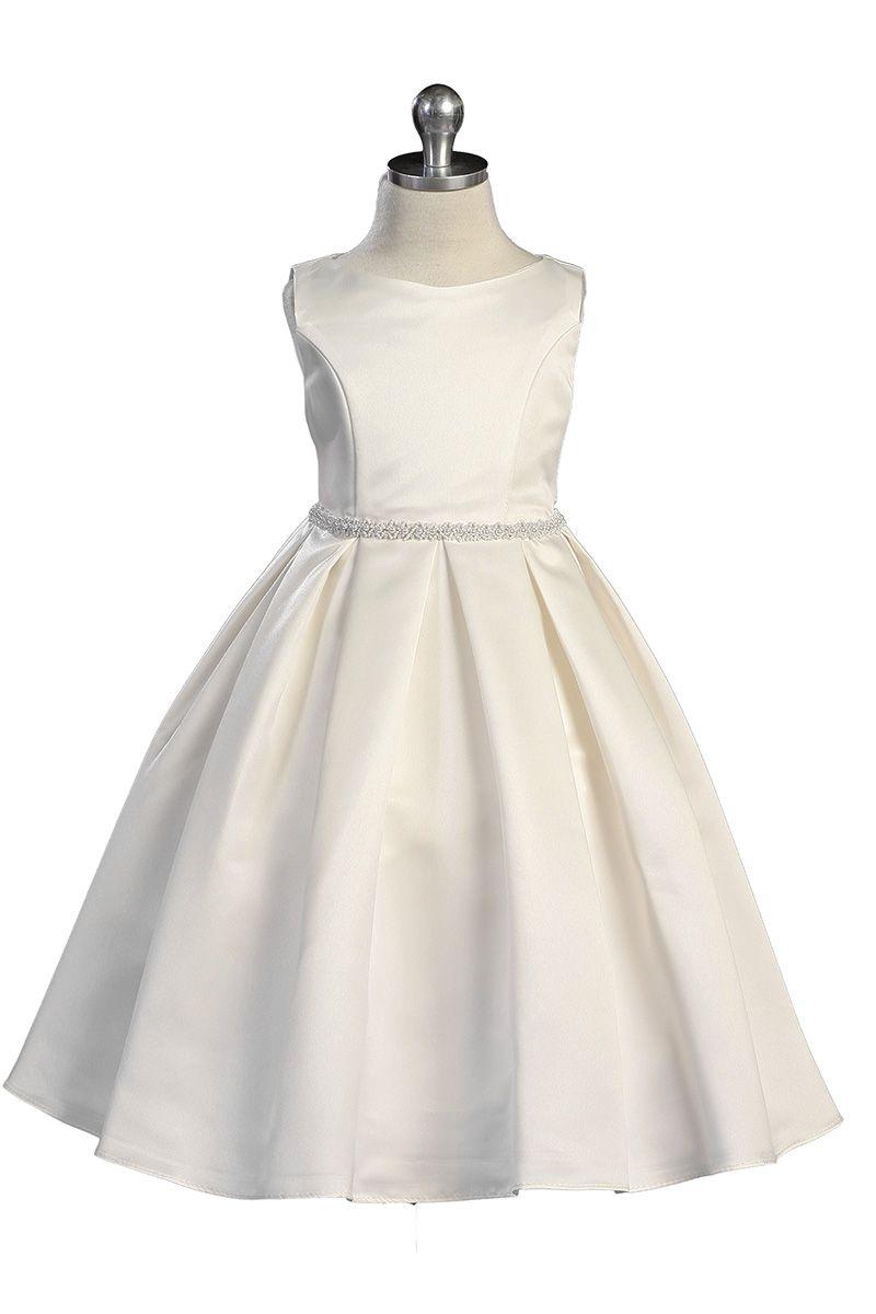 Ivory classic pearl trimmed flower girl dress ki on
