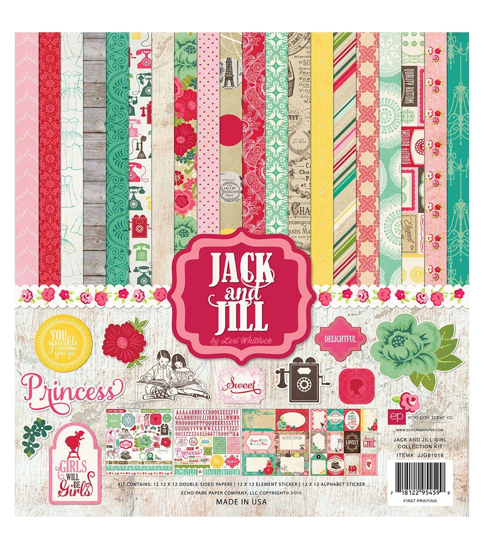 Scrapbook paper echo park - Echo Park Paper Company Jack Jill Girl Scrapbooking Kit