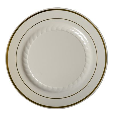 Silver Splendor 10 Inch Ivory Plastic Plate with Gold Band/Case of 120 Tags  sc 1 st  Pinterest & Silver Splendor 10 Inch Ivory Plastic Plate with Gold Band/Case of ...