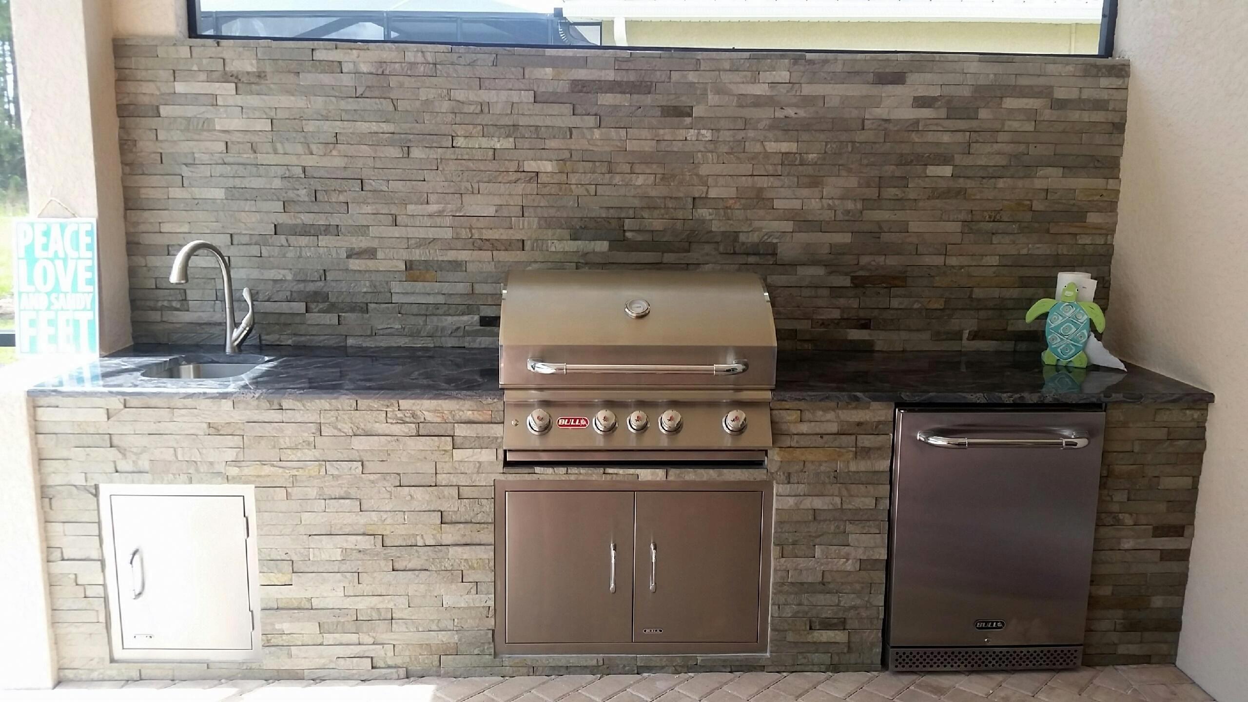 Stacked Stone Sophistication Pelican Preserve Elegant Outdoor Kitchens Inexpensive Backsplash Ideas Stacked Stone Outdoor Kitchen