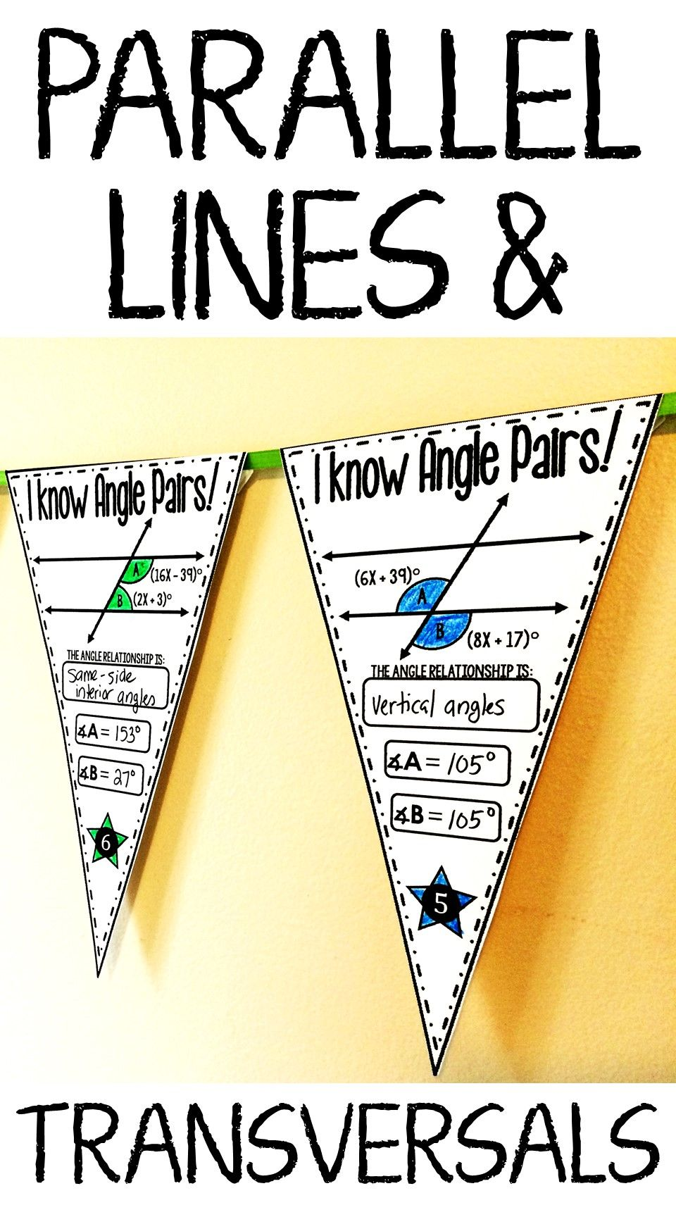 Students find the measures of angles created from parallel lines cut by  transversal in this also transversals and math pennant activity rh pinterest