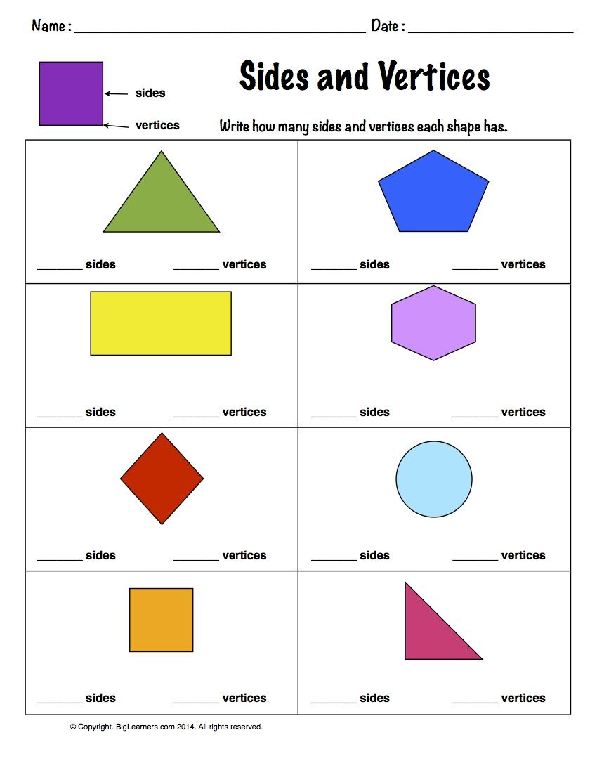 Worksheet Sides And Vertices Count And Write How Many Sides And Vertices Each 2 Dime Kids Math Worksheets Shapes Worksheets Shapes Worksheet Kindergarten
