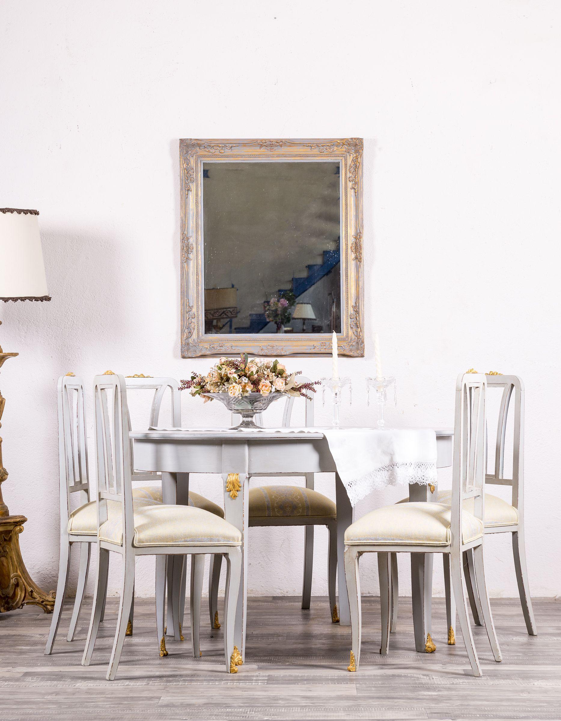 Conjunto De Mesa y Sillas Antiguas Restauradas Yvonne #mesa #sillas ...