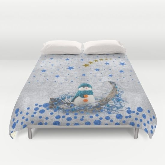 Snowman with sparkly blue stars Duvet Cover