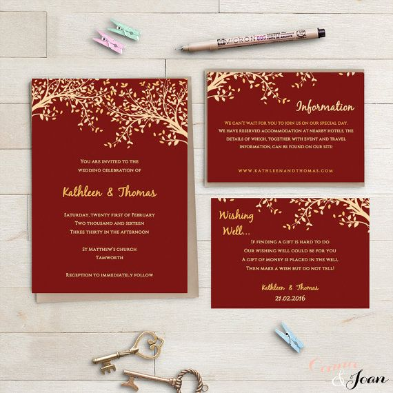 Red And Gold Printable Wedding Invitation Set Wishing Well And Info Templates Leaves Editable Template P Wedding Invitations Invitations Red Gold Wedding