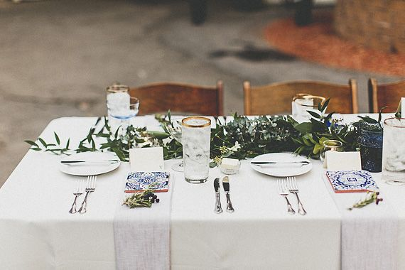 Eucalyptus And Israeli Ruscus Garland Blue Gold Tabletop Romantic Art Deco California Wedding
