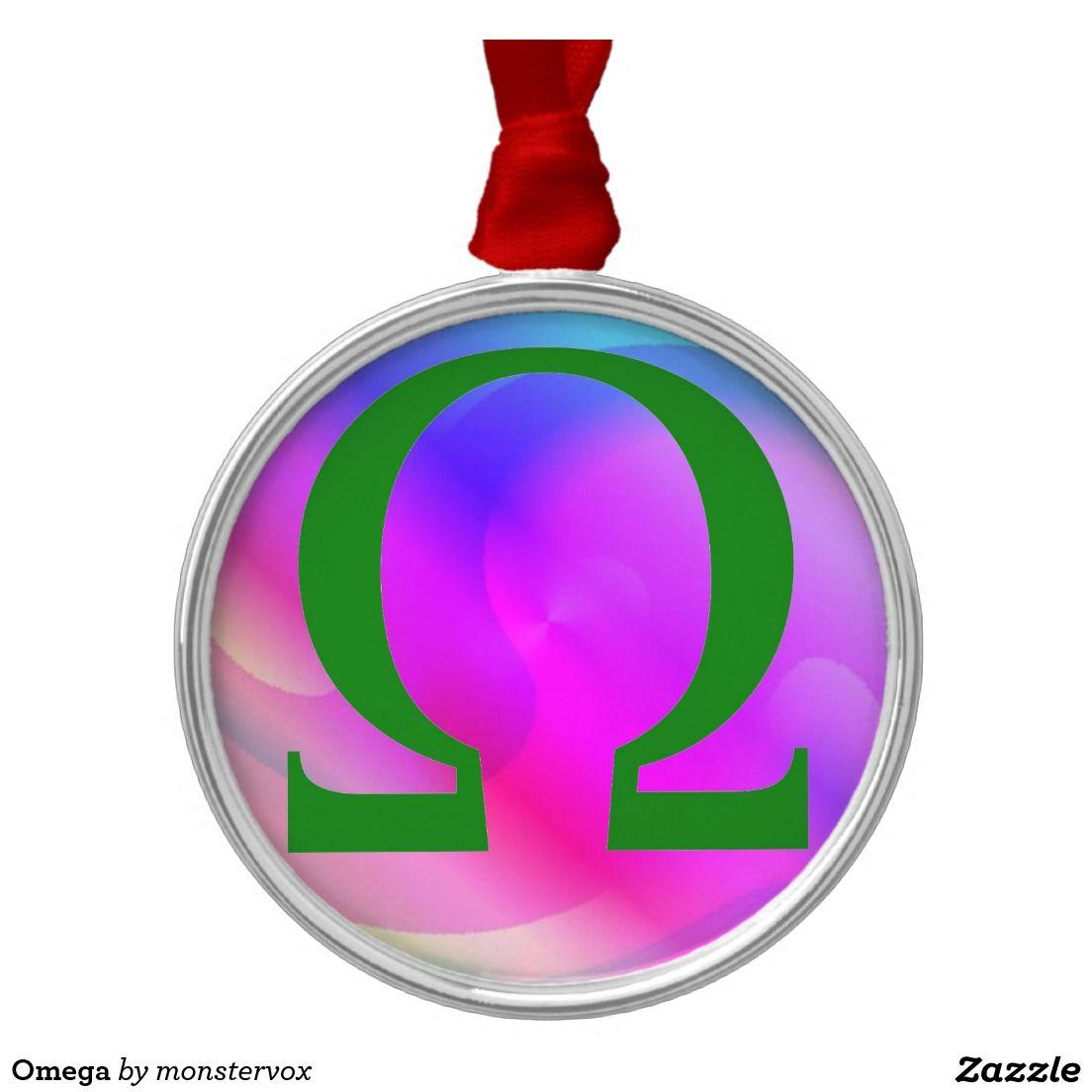 omega round metal christmas ornament omega greek alphabet letter ornament