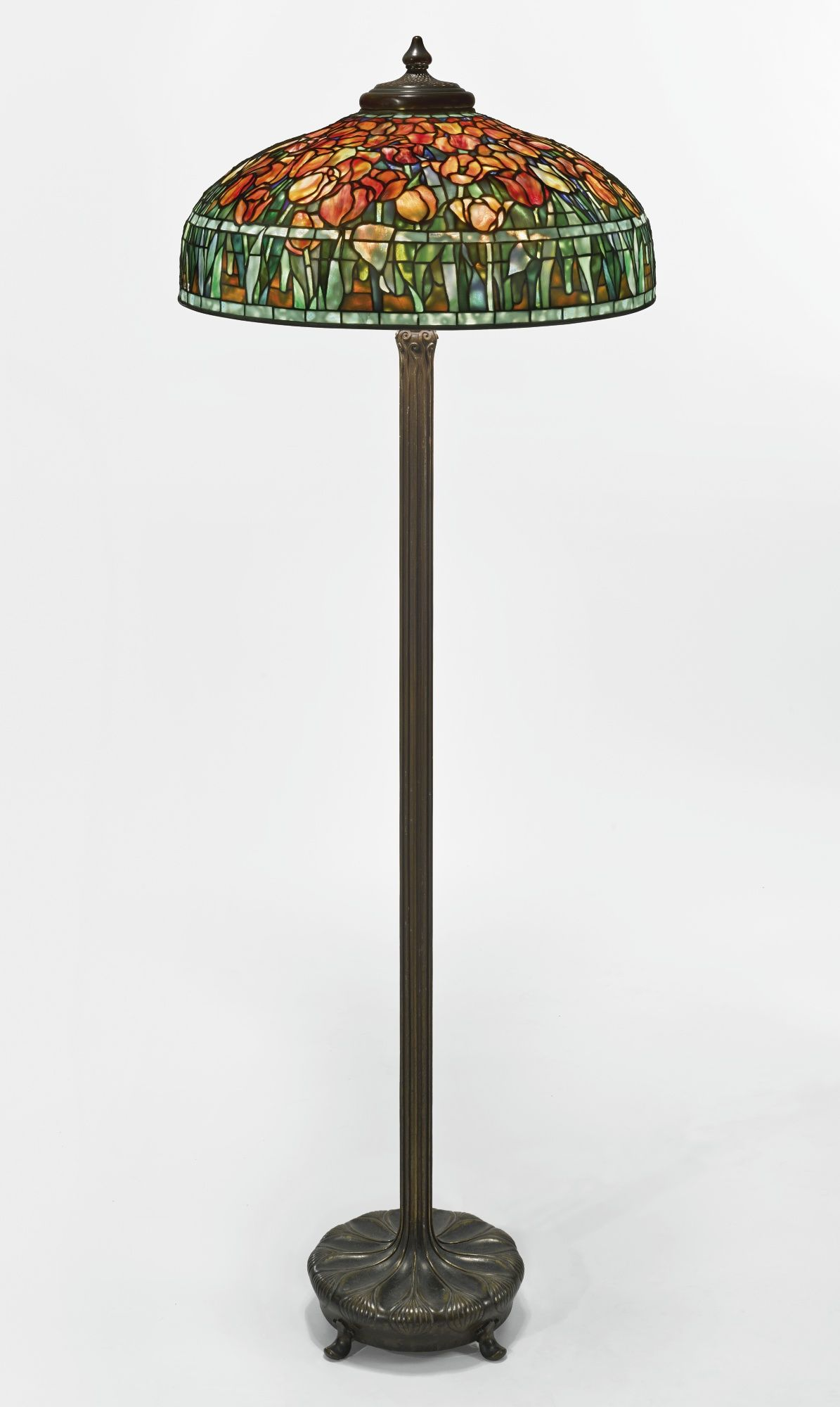 "Tiffany Studios ""TULIP"" FLOOR LAMP with a ""Chased Pod"" Junior"