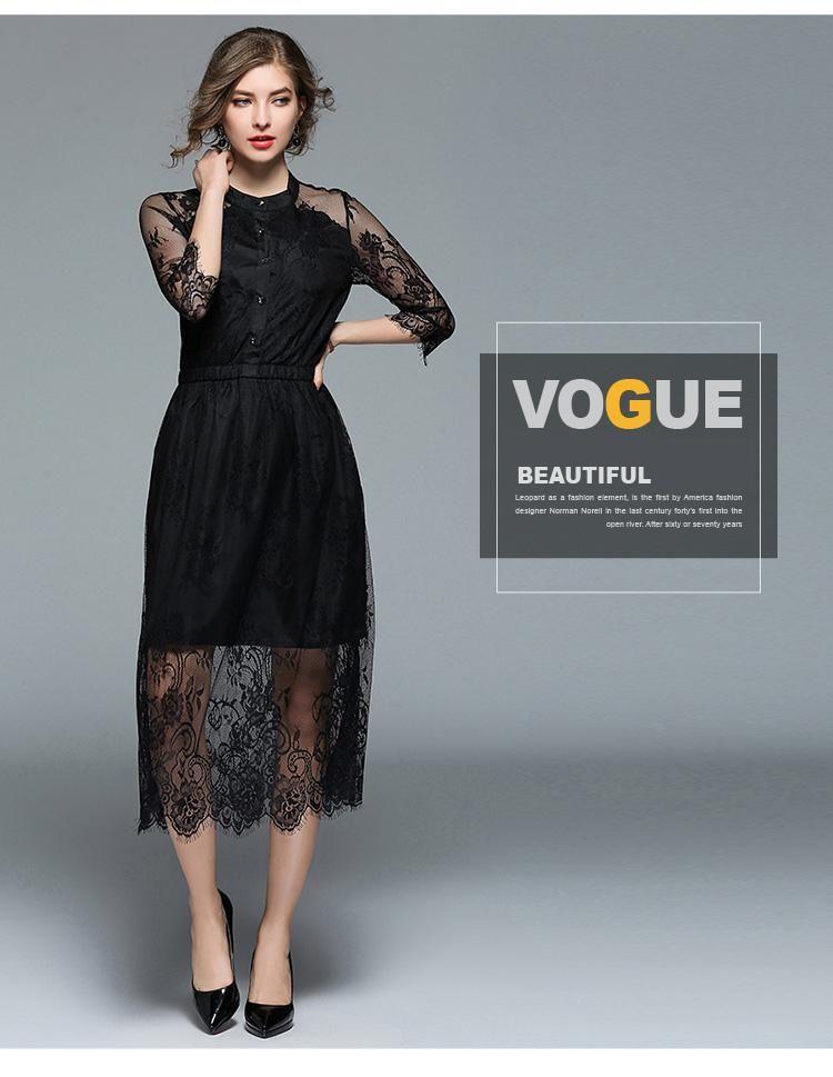 b01a66c8e4d 2018 Women s Lace Dress Vintage Slim Perspective Casual Black Women Dr –  Ozzy Bella All Great Apparel