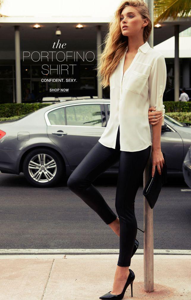 1e3a76a1 Feminine Ways to Wear Button-Down Shirts in 2019 | what to wear | Fashion,  Portofino shirt, Express portofino shirt
