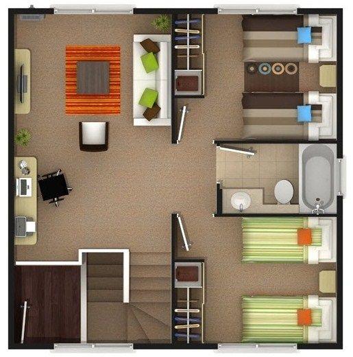 planos de casas modernas de un piso 2 dormitorios