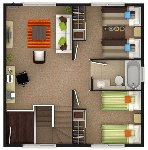 planos de casas de dos pisos con 2 dormitorios