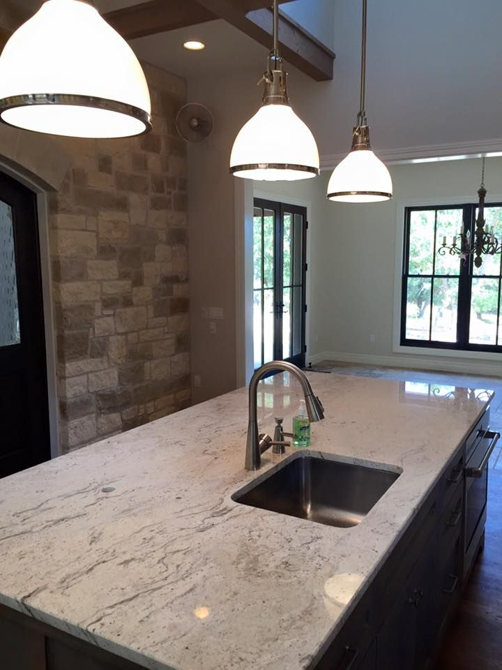Light Granite River White Kitchen Island