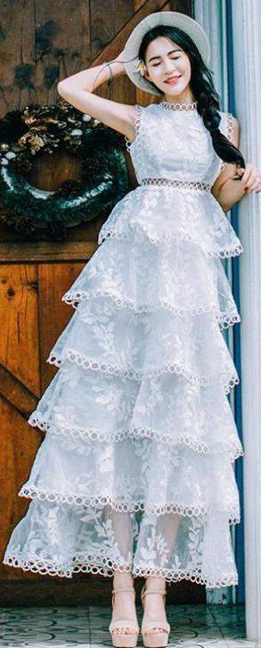 3ba458c8dd3  60.00 Sale 2018 white beach dress o neck sleeveless gown layered hollow  out long dress