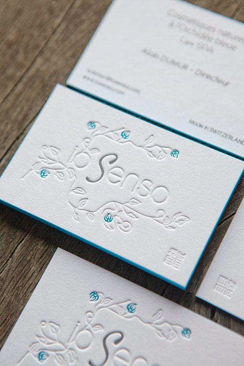 Carte De Visite Recto Verso Sur Papier Coton Extra Blanc Avec Tranche Colore Business Cards Letterpress Printed In 2 Colors And Blind Deboss Onto 600g