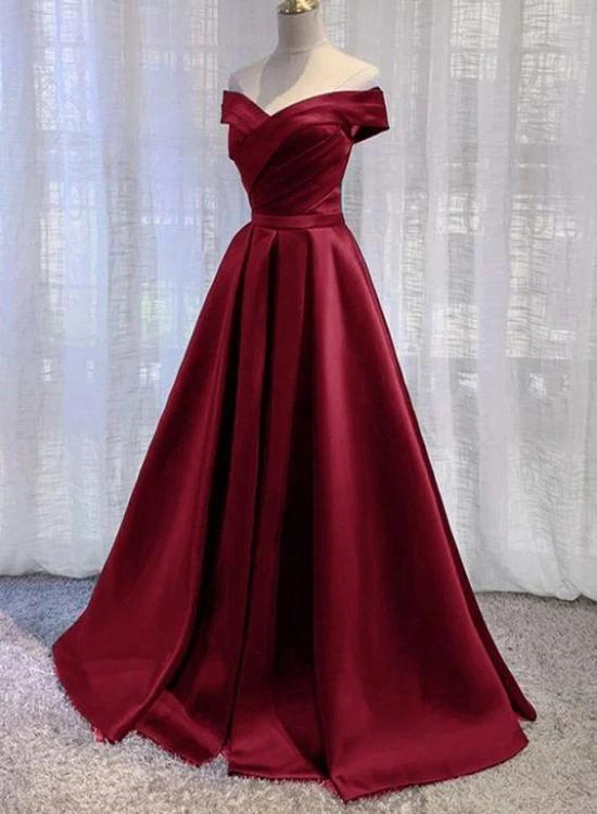 Wine Red Floor Length Off Shoulder Wedding Party D