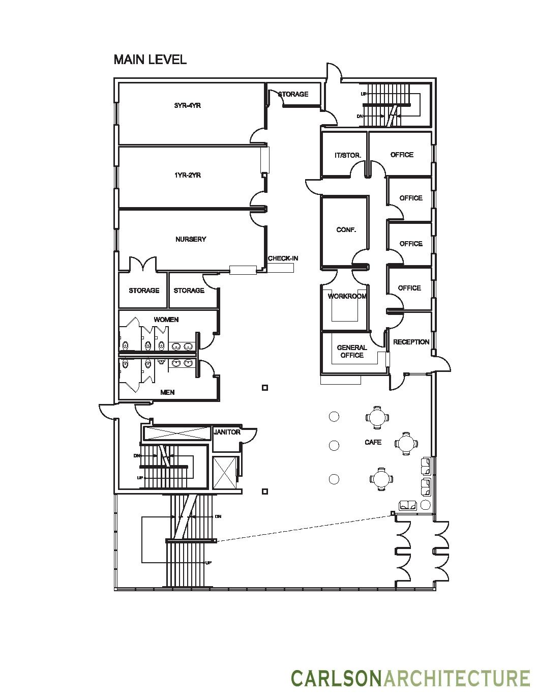 Church building plan with lobby, church offices, and