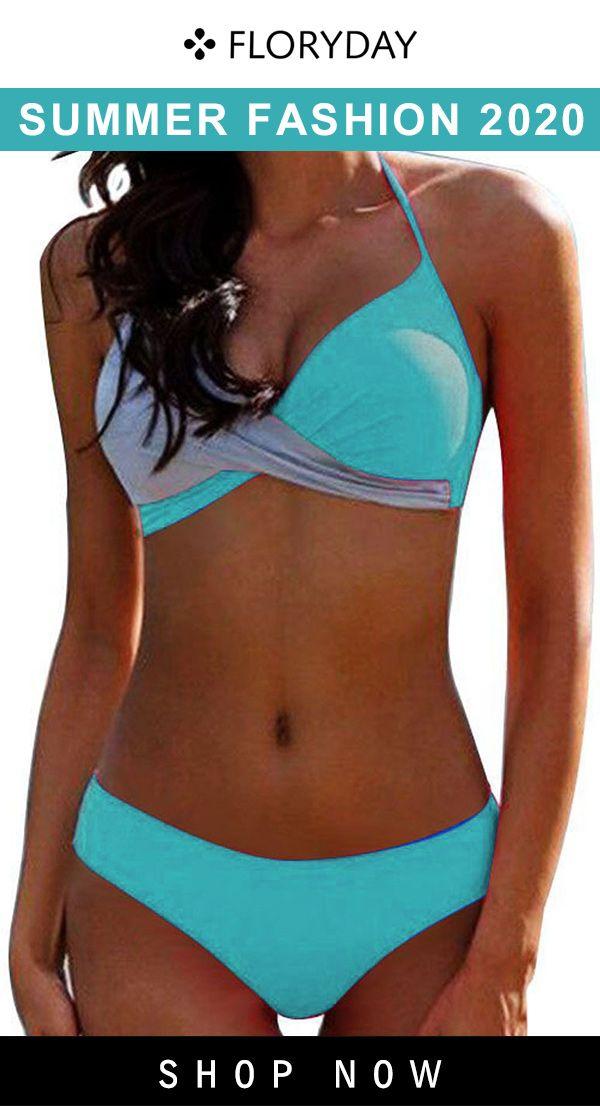 Polyester color block bikini