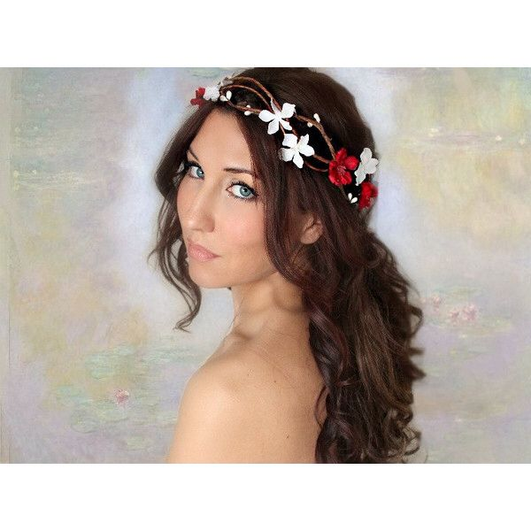 Red woodland hair accessory, wedding