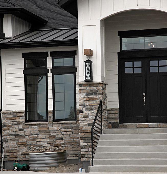 Best Modern Rustic White Farmhouse Black Doors Black Trim 400 x 300