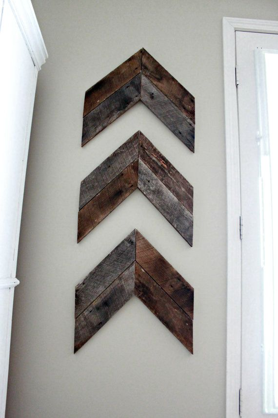 3 Pieces Wall Decor For Living Room: Reclaimed Wood- Wooden Arrow Art Wall Hanging 3 Piece Set