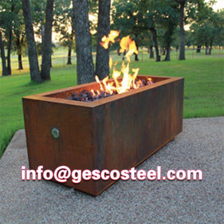 Globe Outdoor Corten Steel Fire Pit Rectangular Fire Pit Fire Pit Designs Fire Pit Grill