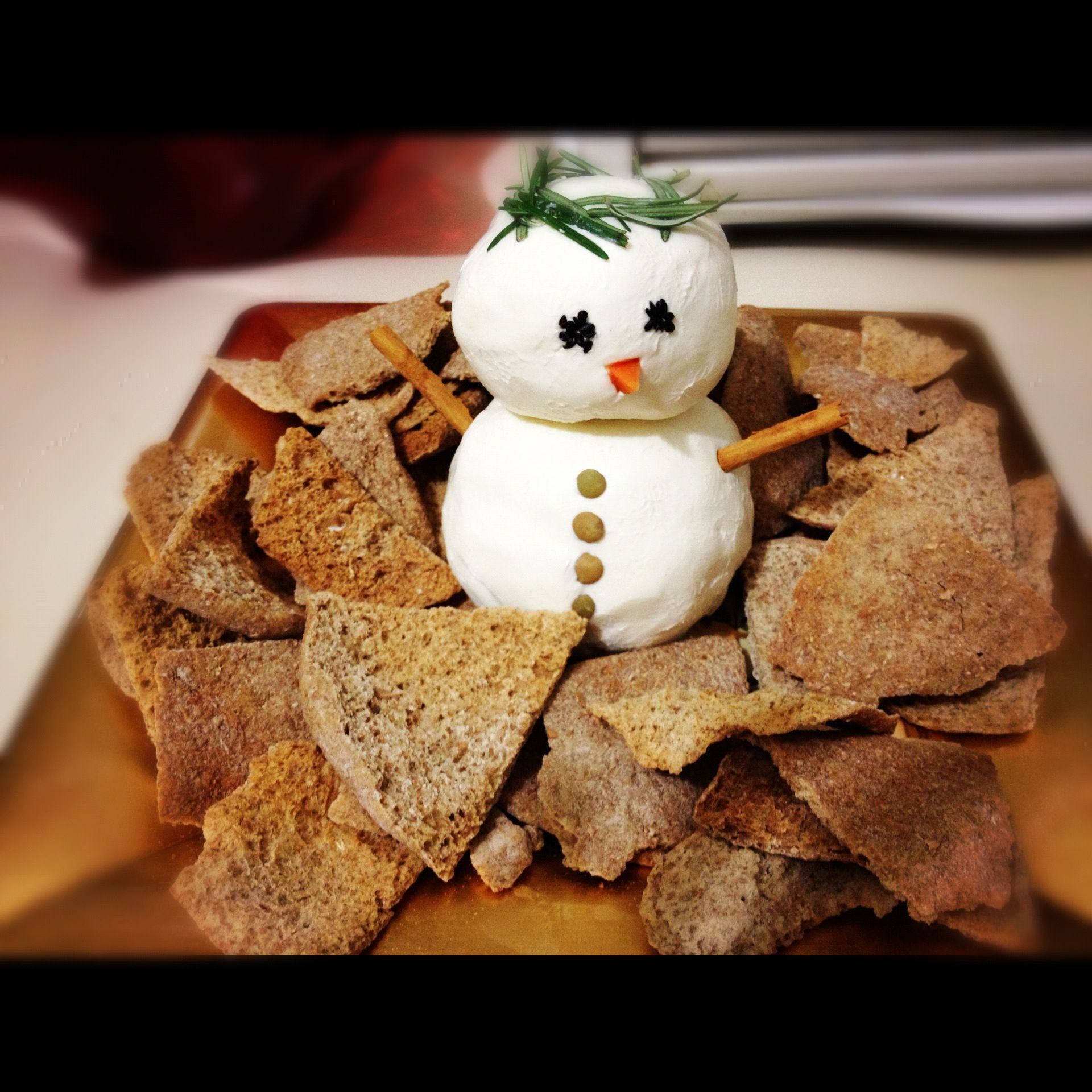 Cream cheese snowman!