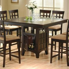 Mix & Match Counter Height Dining Table w Storage Base