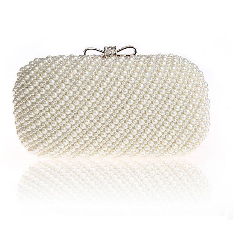 ac41c19c6c Two Side Pearls Clutch 2017 Beaded Evening Bag Wedding Bride Day Clutch  Elegant Purse Black White Champagne Party purse Handbag