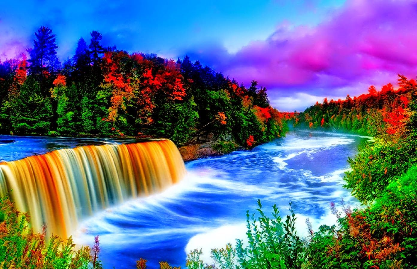Images And Pictures Of Nature Beautiful Nature Scene Beautiful Nature Scenes Waterfall Wallpaper Rainbow Waterfall