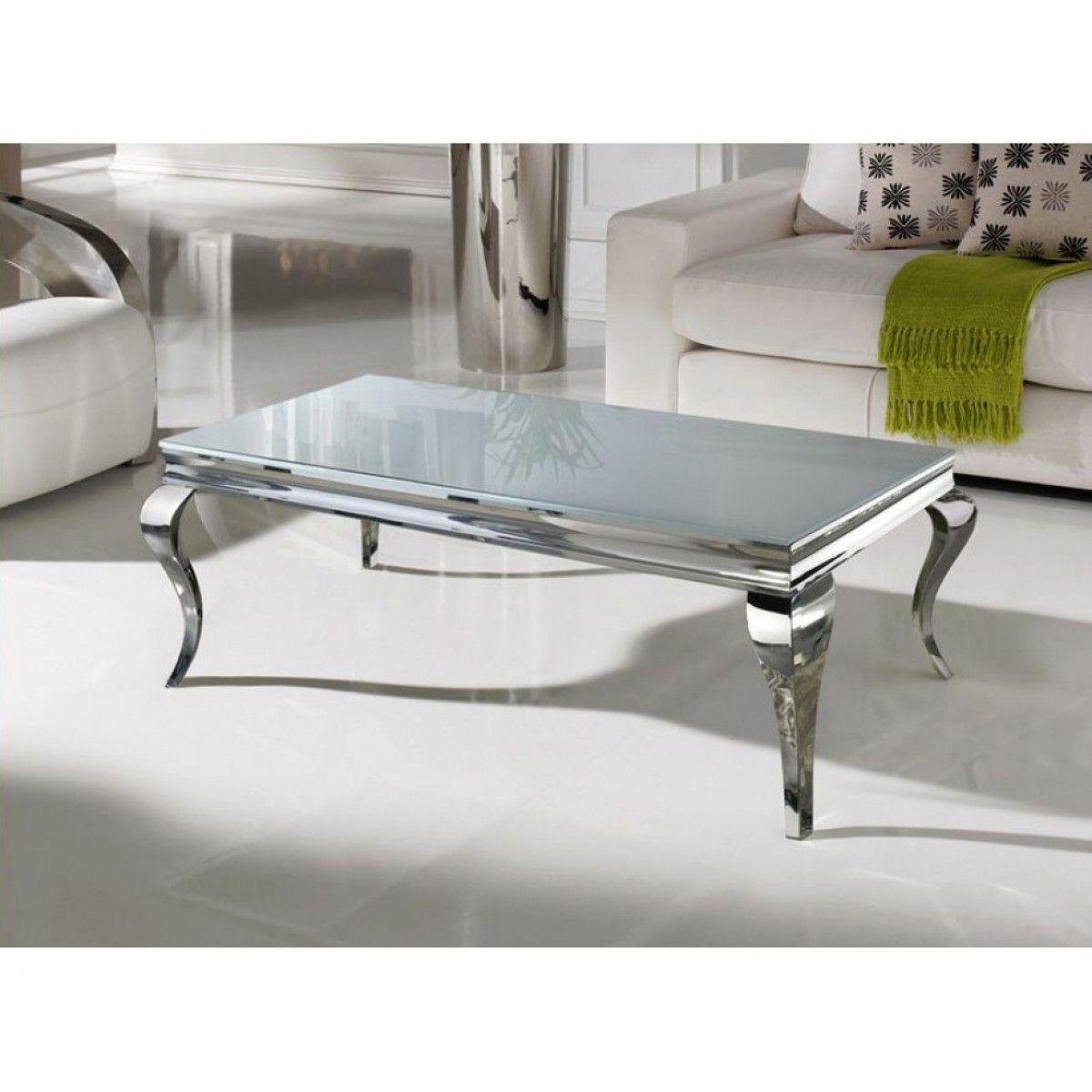 table basse baroque duchesse en marbre et inox blanc