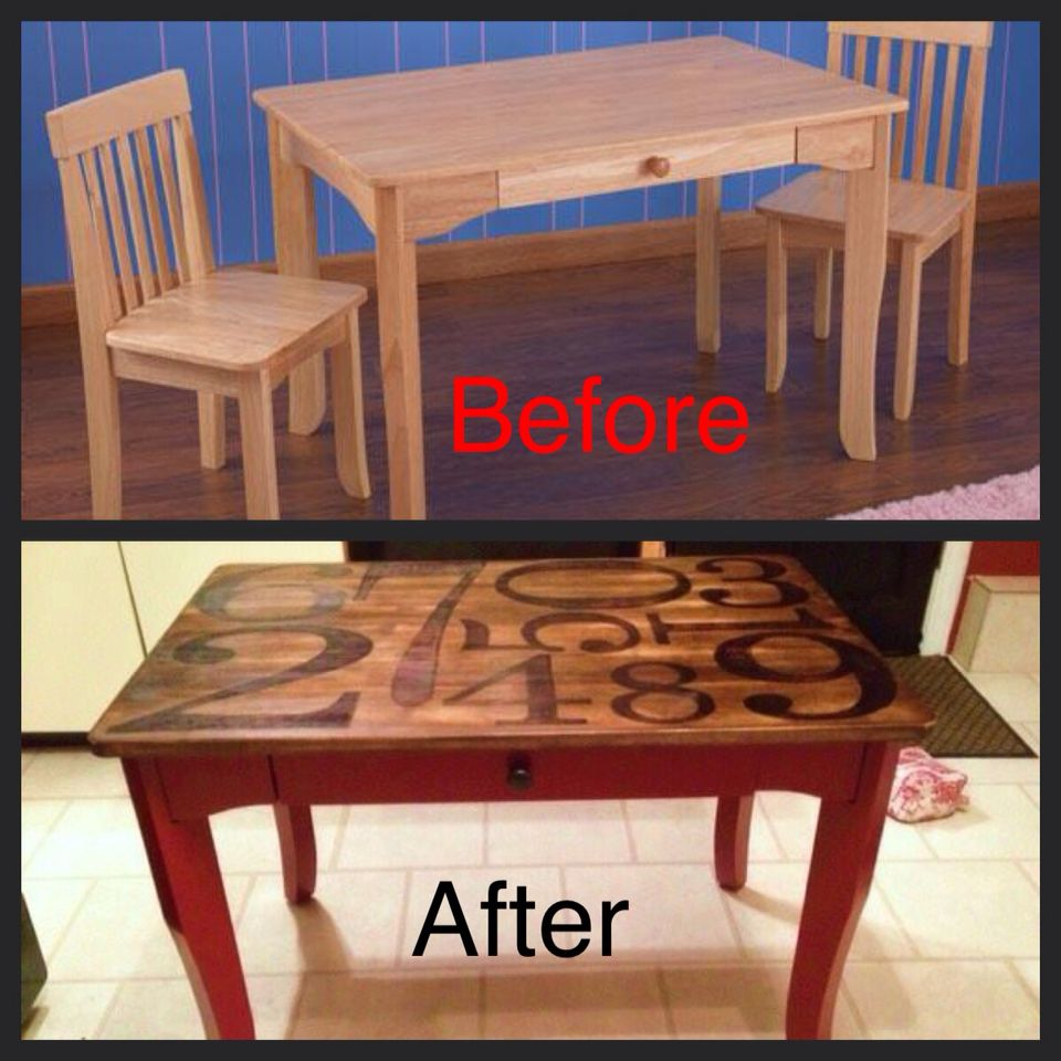 $20.00 Salvation Army find to a new Pottery Barn inspired art table and chairs. #pottery barn numbers diy, diy kids table and chairs