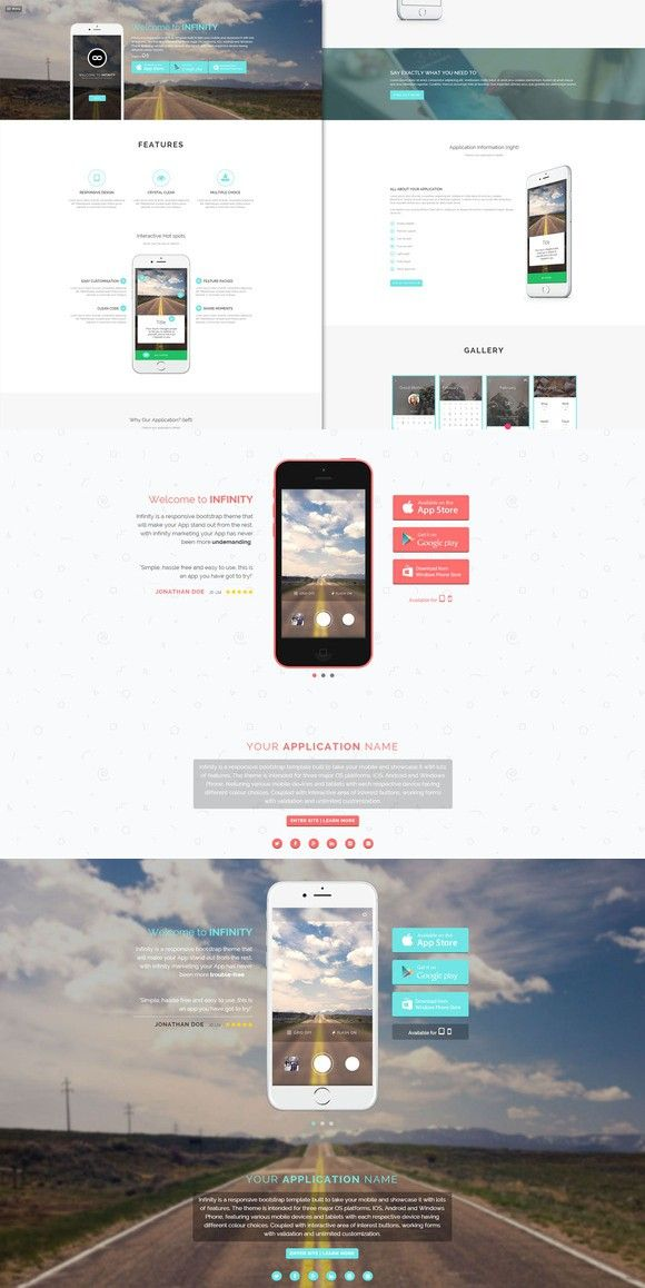 Infinity - Mobile App HTML5 Template. Bootstrap Themes. $10.00 ...