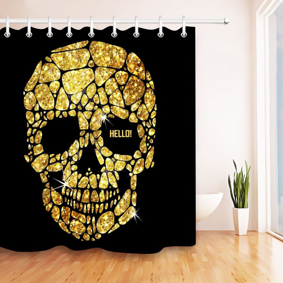 Rotten Gothic Sugar Skull Shower Curtain Waterproof Fabric Bath Decor Hooks Set Skull Shower Sugar Skull Shower Curtain Skull Shower Curtain Waterproof Fabric