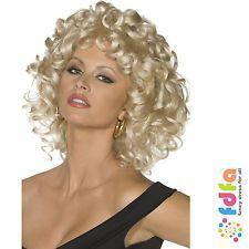 GREASE BLONDE CURLY SANDY LAST SCENE WIG - one size - womens fancy dress 322cefc902