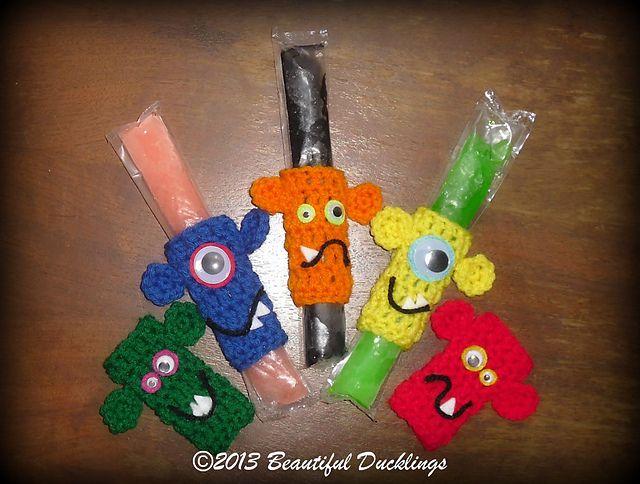 Monster Ice Pop Koozies pattern by Sonya Blackstone | Varios, Tejido ...