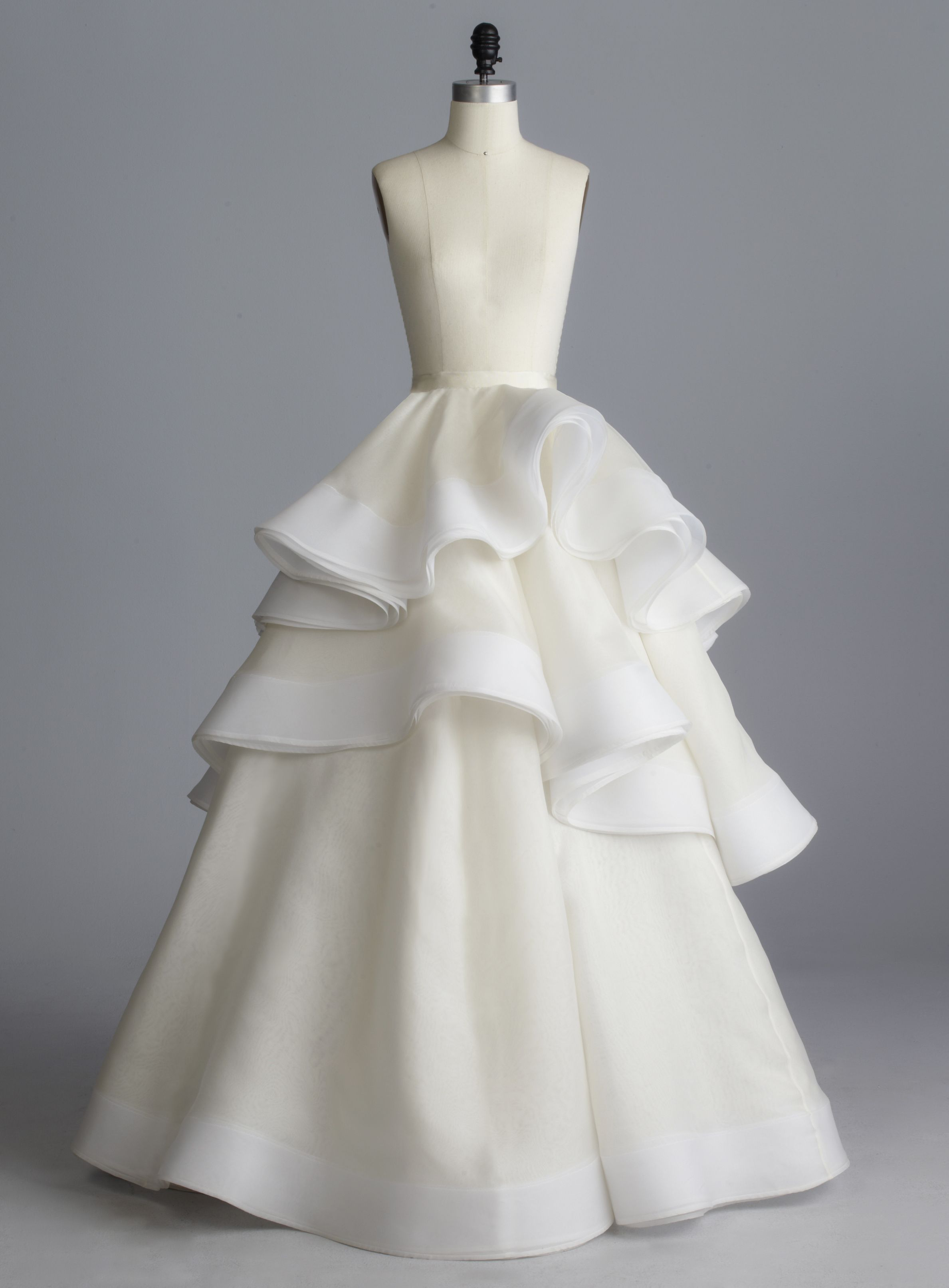 Della Giovanna Ryden Skirt- Off-White Silk Organza Layered Three ...