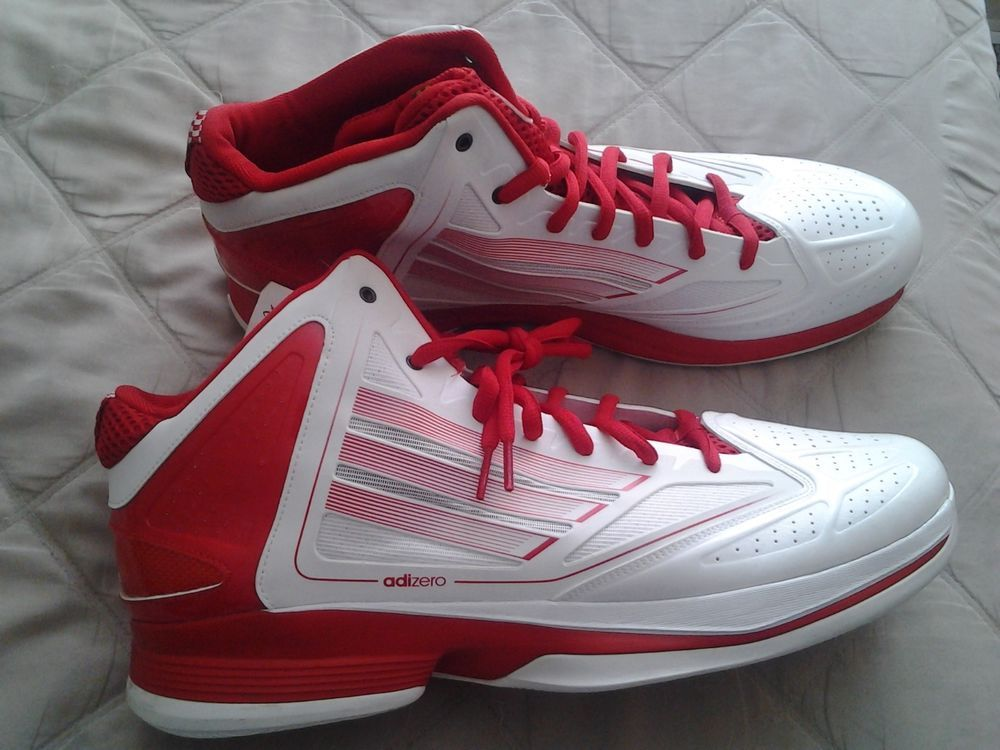 7a2f2117980a MEN S ADIDAS SMU ADIZERO GHOST WHITE RED SUPER LIGHTWEIGHT BASKETBALL  SNEAKER 16  ADIDAS  BasketballShoes