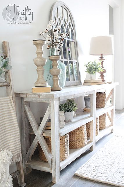 DIY Rustic X Console Table