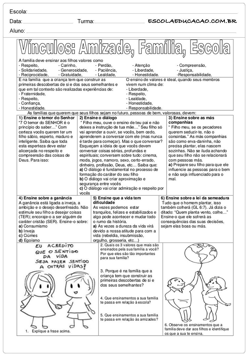 Atividades De Ensino Vinculos Amizade Familia E Escola Ensino