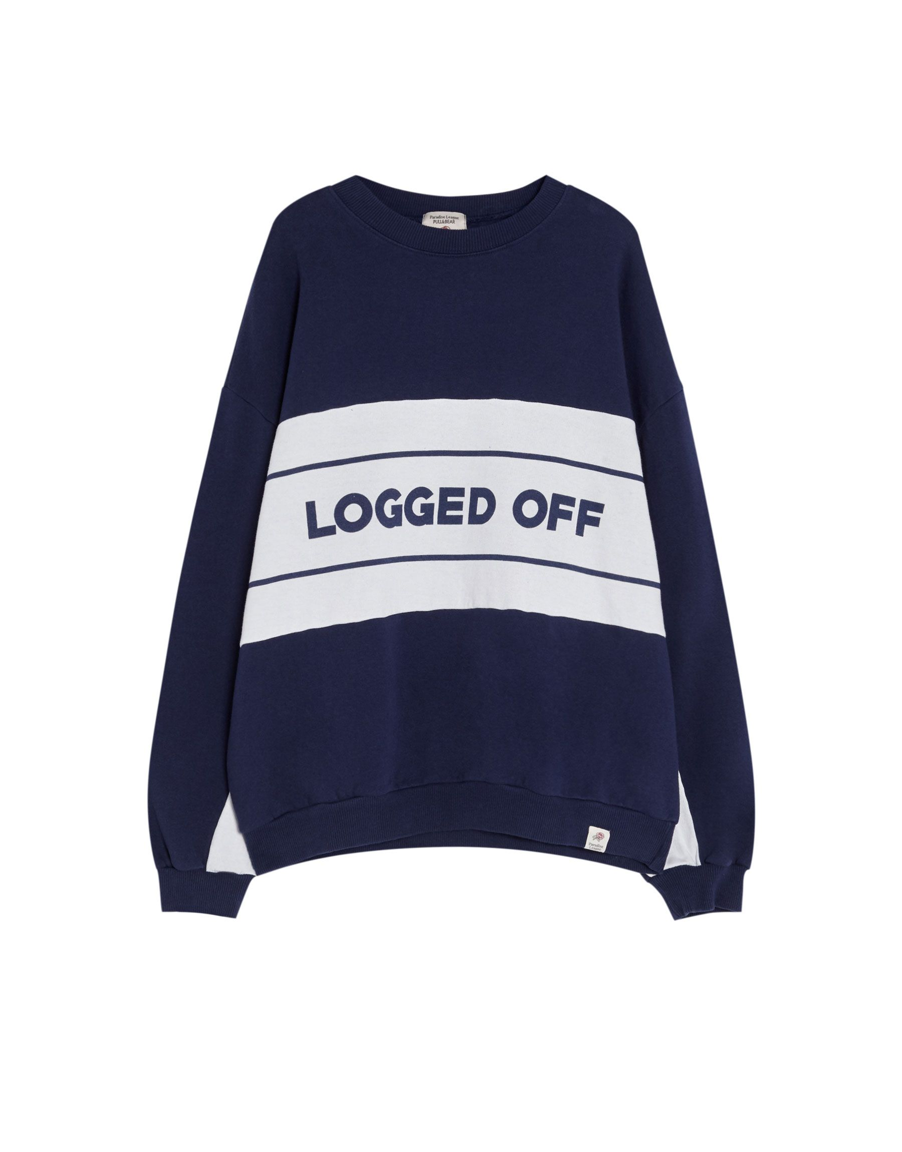 c6312a1f Sweatshirt with panels and slogan - Sweatshirts & Hoodies - Clothing -  Woman - PULL&BEAR United Kingdom