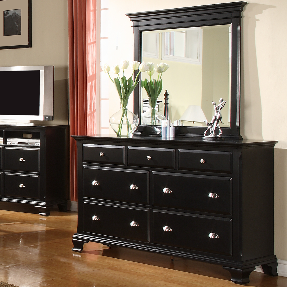 Contemporary Bedroom Ideas With Glossy Black Dresser 3 Small Drawers Above And 4 Medium Square Mirror Wooden Frame