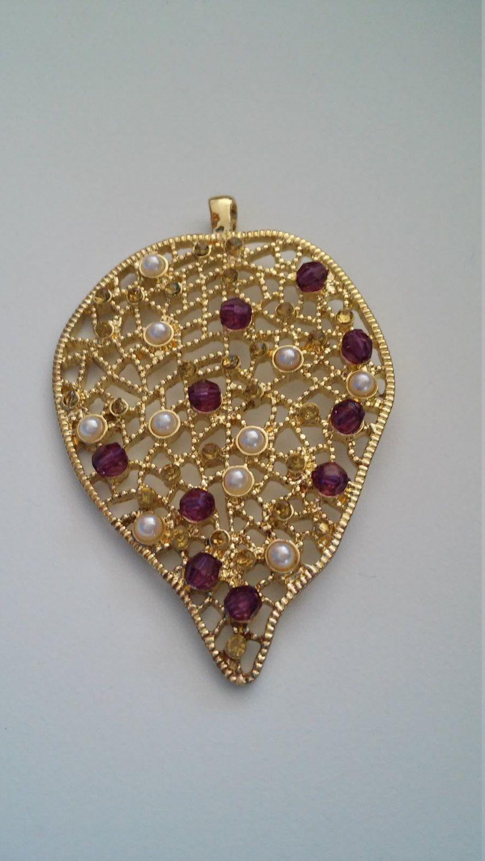 Gold metallic pendant with pearl purple topaz colored acryllic gold metallic pendant with pearl purple topaz colored acryllic beads blue moon pendant aloadofball Images