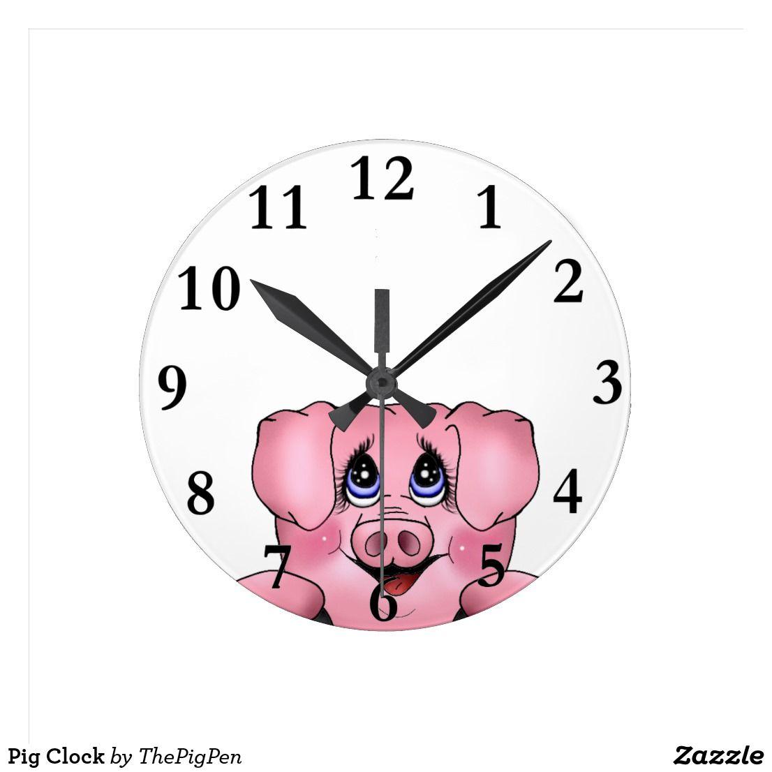 Pig Clock   Zazzle.com   Pigs gifts, Mini pigs, Teacup pigs
